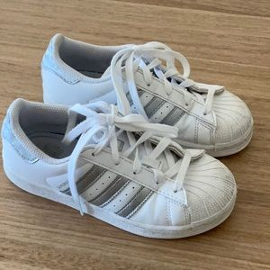 Adidas Kids White/Silver Superstar Shoes